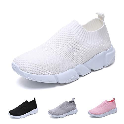 Scarpe Sportive Donna Scarpe da Ginnastica Leggero Scarpe da Corsa Palestra Running Sneaker Outdoor Respirabile Bianco 40 EU