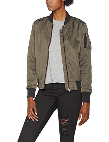 Urban Classics Damen Jacke Ladies Nylon Twill Bomber Jacket, Mehrfarbig (Darkolive/Black 795), Large