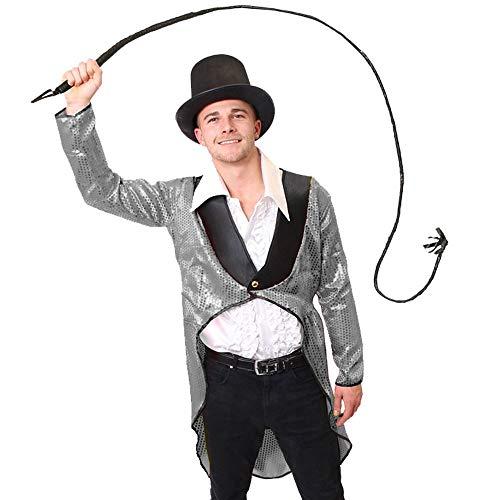 ILOVEFANCYDRESS MANEGEN Zirkus Direktor KOSTÜM VERKLEIDUNG= Zylinder+Pailetten Frack+ WEIßES RÜSCHEN Hemd+ Leder Peitsche=Fasching Karneval Halloween=Direktor LÖWEN BÄNDIGER= SILBENER Frack/XXLarge