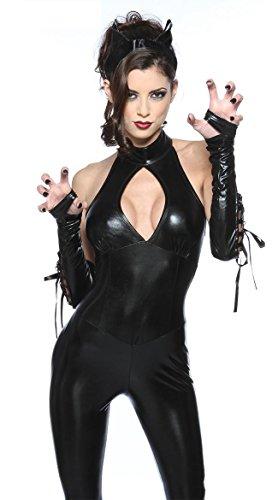 (fdhd Frauen Jumpsuit Spandex Sexy Schwarze Katze Latex Catsuit Kostüme Mädchen Body Anzüge Fetisch Halloween Sexy Lederstrapless Katze Mädchen Kostüm)