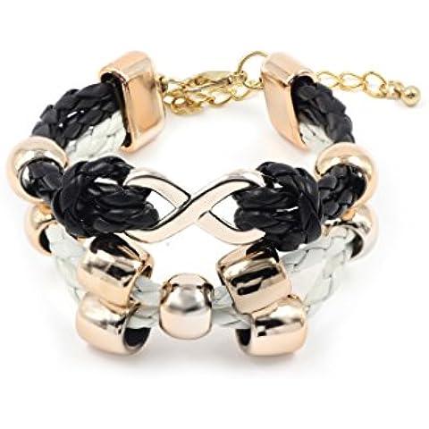 VB braccialetto, colore nero/bianco - intrecciata nastro con applicazioni dorate