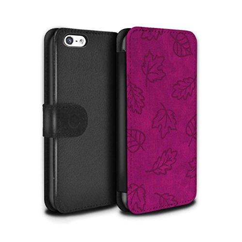 Stuff4 Coque/Etui/Housse Cuir PU Case/Cover pour Apple iPhone 5C / 7 Pack Design / Motif Feuille/Effet Textile Collection Rose