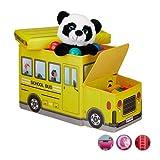 Relaxdays Tabouret Coffre boîte à Jouets Couvercle Pouf Enfant Pliable Auto 50 litres, Bus Ecole, Polyester, School, 33 x 27 x 56 cm