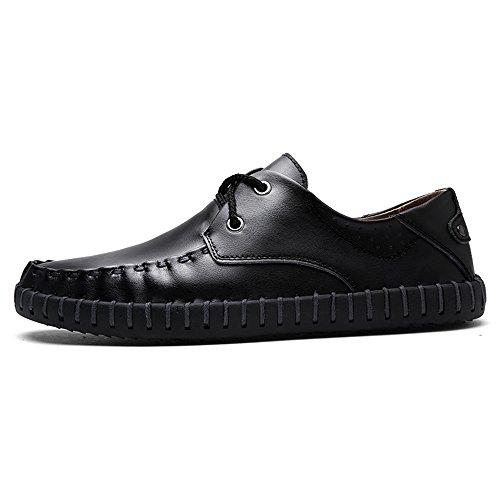 Eastlion Herren Leder schnüren sich oben Bootsschuhe Loafer Slip auf Deck Schuhe Schwarz