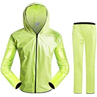 AOLVO Traje Impermeable de Lluvia para Mujer/Hombre Abrigo de Chaqueta Chaqueta Impermeable Impermeable con Capucha Unida para Bicicleta al Aire Libre, Bicicleta de Montaña, Motocicleta, Pesca