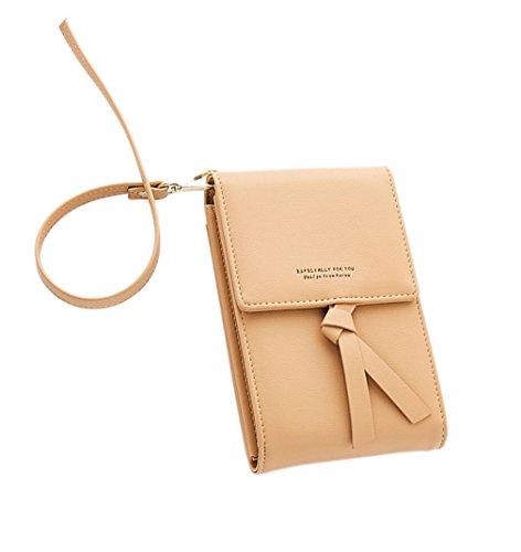 Bandolera para Mujer,Bolso de Hombro Cuero pequeño Bolso De Mano Crossbody Bag con Correa para el Hombro Cartera Niñas para Mini Bolso de Viaje para Celular de 5.8 Pulgadas Albaricoque