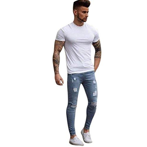 Hombres Pantalones, Manadlian Hombres Pantalones de mezclilla Elástico Ripeado Flaco Biker Jeans Destruido Grabado Ajustado (XXL, Azul claro)