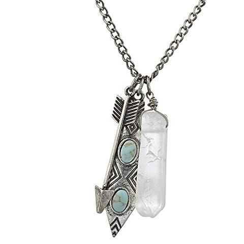 LUX Zubehör Boho brüniert Silber Marmor Quarz Pfeil Cluster Charme Halskette