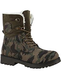 6611e3e50e4c62 Stiefelparadies Damen Stiefeletten Worker Boots Übergrößen Warm Gefüttert  Flandell