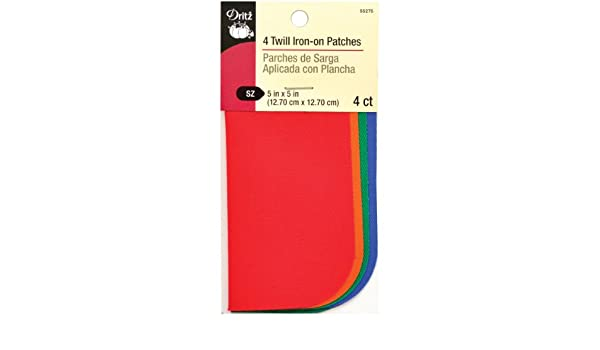 """Dritz 55275 Iron-On Twill Patches 5/""""X5/"""" 4//Pkg-Bright"""