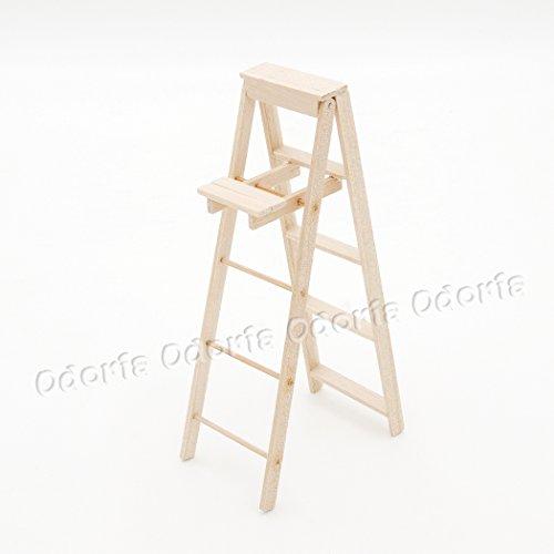 Preisvergleich Produktbild Odoria 1/12 Miniatur Trittleiter, Klapptritt 3 Stufen Holz Puppenhaus Möbel Zubehör