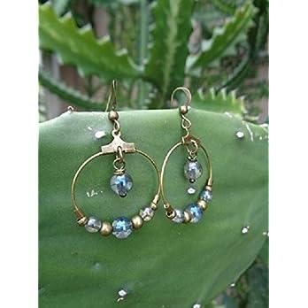 GLAS IN TRANSPARENT BLAU GOLD BRONZE CREOLEN baumelnde Ohrringe mit Ring