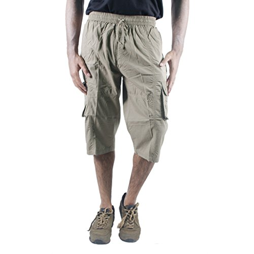 0-Degree-Shorts-3by4-knee-length-Three-Fourth-Capri-Men-Chinos-Classic-Cotton-Bermuda-Beige-30-3by4ClassicSoloBeige