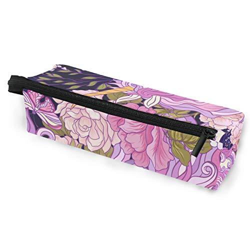 Sonnenbrille Fall Stift Federmäppchen Tier Einhorn Rosen und Schmetterling nahtlose Muster bunte Briefpapier Beutel Aufbewahrungsbox Kosmetiktaschen Brillen Tasche mit Aufhängeöse