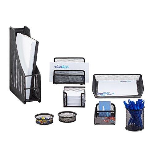 Relaxdays Schreibtisch Organizer Set, 8-teilig, Metall, Schreibtisch-Set, Briefablage, Zettelbox, Stifteköcher, schwarz -