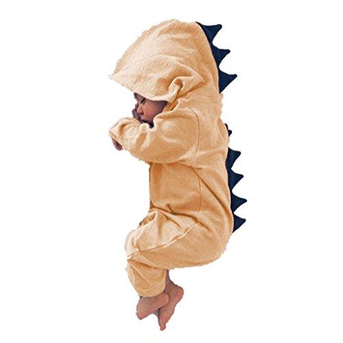 y Mädchen Overall mit Kapuze Strampler Dinosaurier Kostüm für Neugeborene Kleinkind Klettern Kleidung size 1-2 Jahre (Orange) (Orange Mädchen Kostüme)