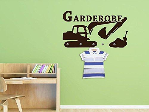 Graz Design® Wandtattoo Garderobe 5 Haken Deko für Kinderzimmer Baustelle Bagger Schaufel (81x45cm // 010 weiss // Haken 5Stück) (Weißer Junge Schaufel)
