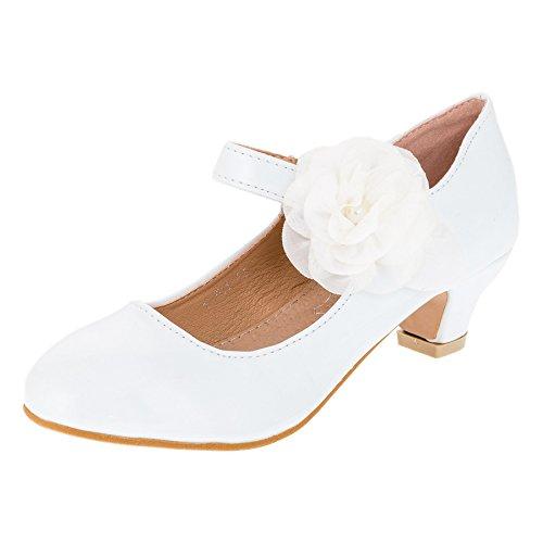Cherine Festliche Mädchen Lackoptik Ballerina Pumps mit Echt Leder Innensohle M374ws Weiß 32