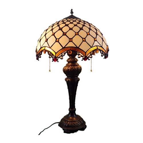 LXHK Tiffany Tischlampen, 16 Zoll Blumen Buntglas Handgefertigten Lampenschirm E27 Barock Europäische Schlafzimmerlampe Nachttischlampe Dekoration Innenbeleuchtung