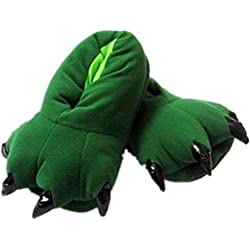 d1f366a45bf Wealsex Niños Suave Terciopelo Garra Animal Unisex Espesar Calido Zapato  Zapatilla (Verde Zarpa,M