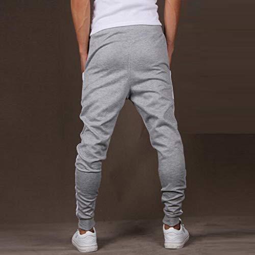 Pantalone Sportivo da Uomo, Zarupeng Pantaloni Sportivi da Allenamento con Cuciture in Tinta Unita da Uomo Sportivi Multi-Pocket Tuta Casual alla Moda in Tinta Unita(Grigio,M)