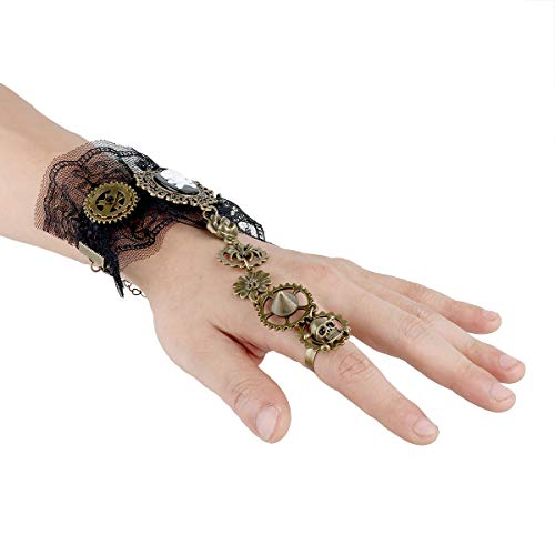 Agoky Steampunk Zahnräder Gothic Armband Victorian Handgelenk Cuff Gear Charms Bronze Cosplay Kostüm Zubehör Schwarz B One ()