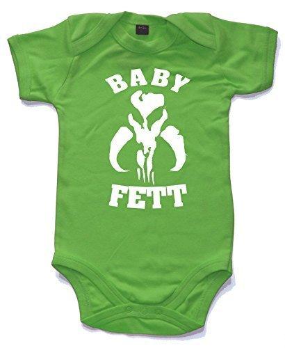 Baby fett gedruckt kurzärmlig STRAMPLER Babysuit in 10 Farben und 4 Größen großartig für dass sich etwas Bounty Jäger Boba Fett Would Be Stolz Hellgrün