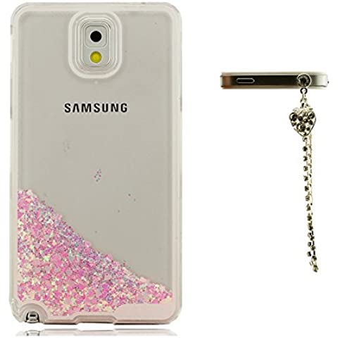 Floating Cuore Amoroso - Tipo Liquido Custodia Copertura per Samsung Galaxy Note 3 Note III + Bella Piccolo Pendente, Samsung Galaxy Note 3 Cover, Rigida Friendly Material, Trasparente Cover Crystal Veiw - Crystal Cuore Pendente Floating