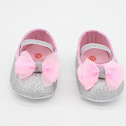 Saingace® Bébé fille mignonne chaussures de fleurs douces espadrille anti-dérapant chaussures main bébé doux + 1pc hairband (13, argent) argent
