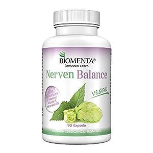BIOMENTA NERVEN BALANCE | AKTION!!! | Natürliche Nervennahrung mit HOPFEN + VITAMINE UND MINERALSTOFFE | 3 Monatskur | VEGAN | 90 Nerven Kapseln