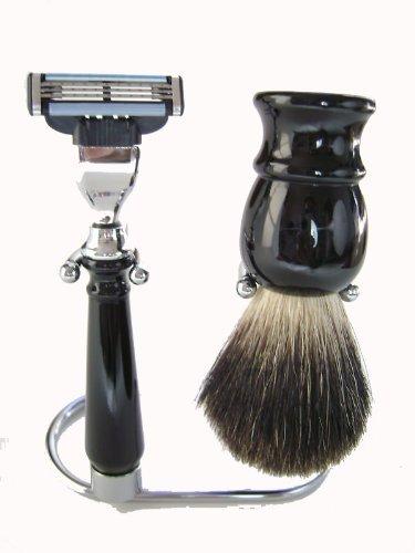 Mach 3 Razor Stand (Black Badger Brush Mach 3 Razor with Stand Shaving Set by Haryali London)