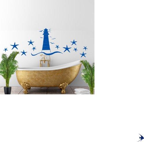 """Preisvergleich Produktbild Leuchtturm Seesterne """"Badezimmer Aufkleber Set mit Möwen Wandtattoo - 60 Farben zur Auswahl"""