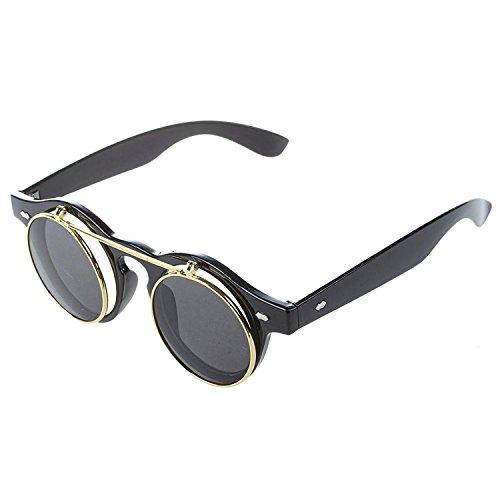TOOGOO(R)Unisex Steampunk Goth Goggles Glaeser Retro Flip Up Runde Sonnenbrille