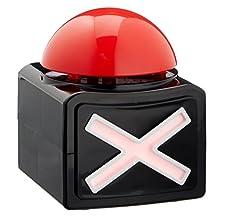 """Buzzer Button Einmal sich so fühlen wie in einer echten Quizshow - dies ist jetzt mit unserem Buzzer-Button möglich! Neben dem bekannten """"Bzzzzzzz""""-Ton erleuchtet das vorn angebrachte Kreuz in Rot. Durch LED-Technik sparen Sie somit Energie und könne..."""