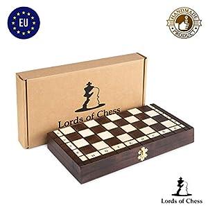 Amazinggirl ajedrez de Madera Damas – Conjunto Tablero ajedrez para niños Adultos Chess Juego Plegable portátil 26 cm