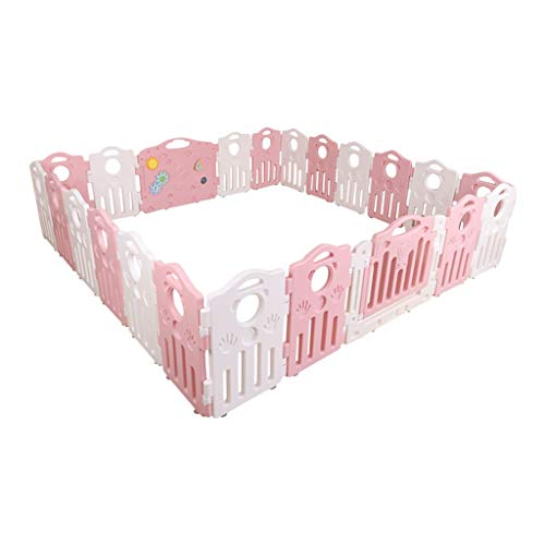 Baby Playpen HUYP Baby Fence Play Area Foldable Baby Fence Crawling Toddler Home Outdoor (color : Pink, Size : 20 small pieces)  HUYP
