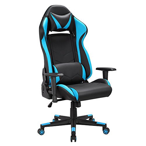 Gaming Office Chair,Game Racing Style Ergonomic Swivel Computer Chair with Lumbar Support and Rocker Headrest and Seat Height Adjustment E-Sports Leather Chair (Black/Blue)