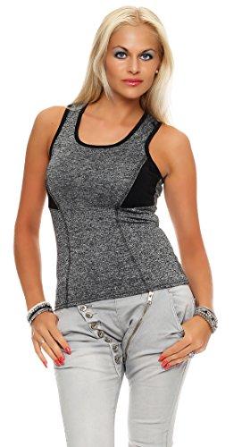 Canotta elasticizzata da donna, per sport, fitness, tempo libero, yoga, alla moda IL13 schwarz