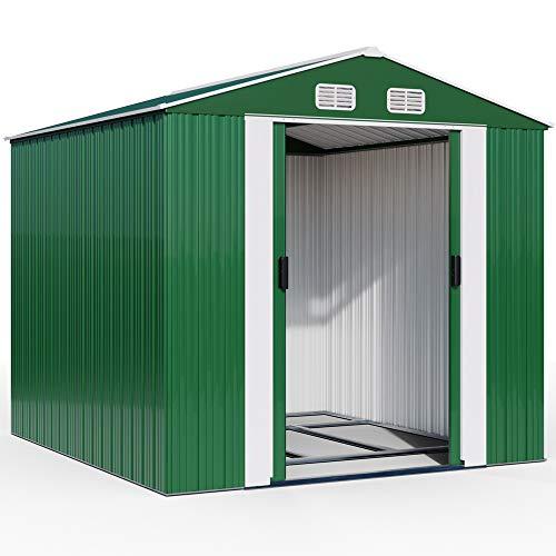 Deuba XXXL Metall Gerätehaus 8m² mit Fundament 312x257x177,5cm Schiebetür Grün Geräteschuppen Gartenhaus 14,7m³