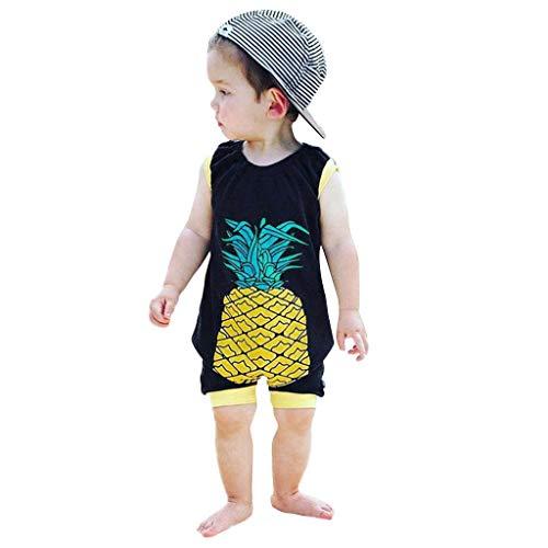 mer Säuglingsbaby-Jungen und Mädchen Ananas Druck Spielanzug Overall-Kleidung Sunsuit Kleidung Kurzarm T Shirt Jumpsuit aus Cartoon Unisex ()