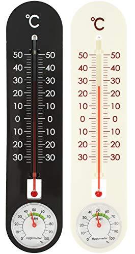 com-four® Termómetros 2X para Interiores y Exteriores - Termohigrómetro con Grados de Grados Celsius - Medidor de Temperatura y Humedad (2 Piezas - Termohigrómetro)