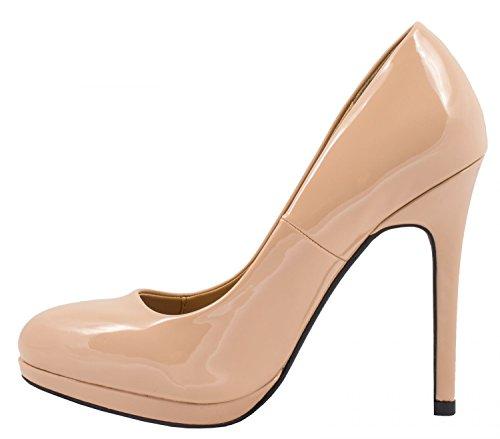 Femmes escarpins vernis élégante soirée Chaussures Fête talons Rose