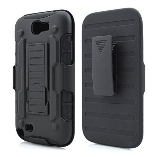 Meimeiwu Galaxy Note 2 Housse Etui,3 en 1 Etui de protection Pochette Coque - rotation à 180° Belt Clip Pour Samsung Galaxy Note 2 - Noir