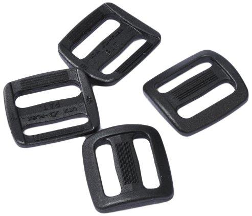 Duraflex Leiterschnalle Regulator Set 4 x 20mm, Schwarz, Stegschnalle, Rucksackschnalle, Gurtschnalle, Seitenschnallen, Klemmschnalle, 7047