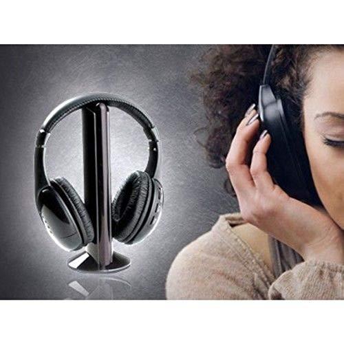CUFFIA WIRELESS 5 IN 1 CON MICROFONO RADIO FM TV CHAT PC BABY MONITOR