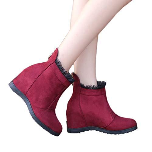 TianWlio Frauen Herbst Winter Stiefel Schuhe Stiefeletten Boots Stiefel Schuhe Schnalle Römische Plattform High Heels Kniestiefel Lange Stiefel rot 35