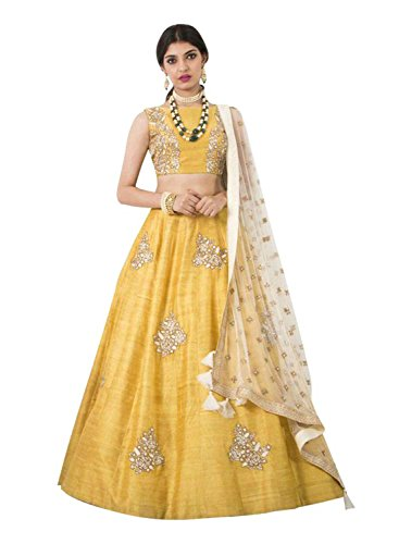 Jaksh Creation Women Banglory Silks Bollywood Designer Semi-Stitched Lehenga Choli (Creation Jaksh10665_Yellow_Free...