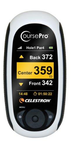 Celestron 44870 Course Pro - Sistema de navegación para golf (medidor de distancia de golpe, 20 canales paralelos, receptor GPS SiRF Star III, mini-USB), color gris [Importado de Alemania]