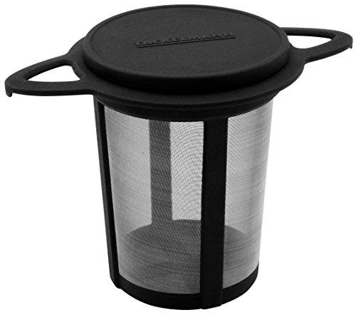 FACKELMANN Dauerteefilter, Teesieb mit feinerm Edelstahl-Gewebe, Dauerfilter mit Deckel (Farbe: Schwarz/Silber), Menge: 1 Stück
