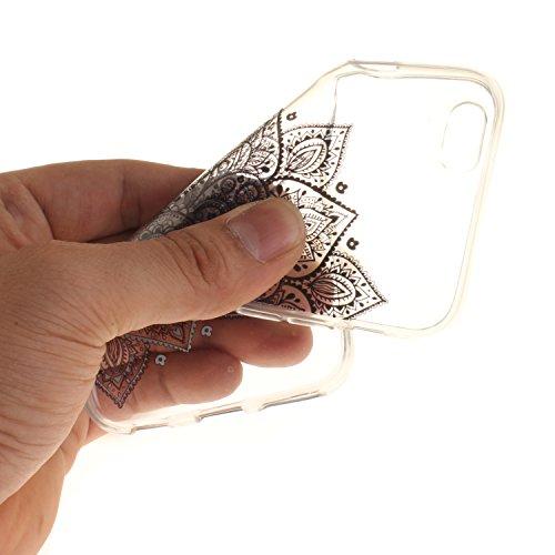 Coque iPhone 6S,Étui iPhone 6,iPhone 6S/iPhone 6 Case,ikasus® Coque iPhone 6S/iPhone 6 Silicone Étui Housse [Conception IMD et cadre en silicone TPU] Téléphone Couverture TPU Ultra Mince Premium Semi  Fleur noir